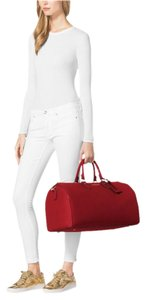 Michael Kors Leather Red Gold Jet Set Red/Gold/Tan Travel Bag