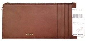 Coach COACH CLASSIC MEN'S or WOMEN'S Polished Glove Tanned Slim Leather Zip Top Wallet #74828
