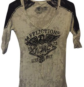 Affliction T Shirt Grey and black