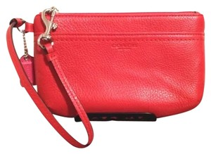 Coach Wristlet in Vermillion Red Orange