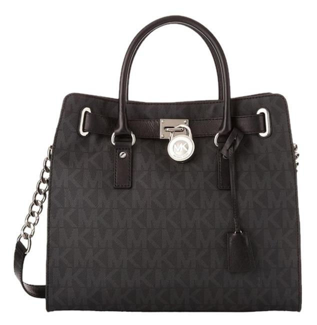 Michael Kors Hamilton Monogram Signature Logo Lock and Key New with Tags Black/Silvertone Hardware Pvc/Leather Tote Michael Kors Hamilton Monogram Signature Logo Lock and Key New with Tags Black/Silvertone Hardware Pvc/Leather Tote Image 1
