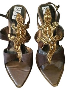 BLUZI Embellished Alligator Motif Italian Never Worn High Heel BRONZE Sandals