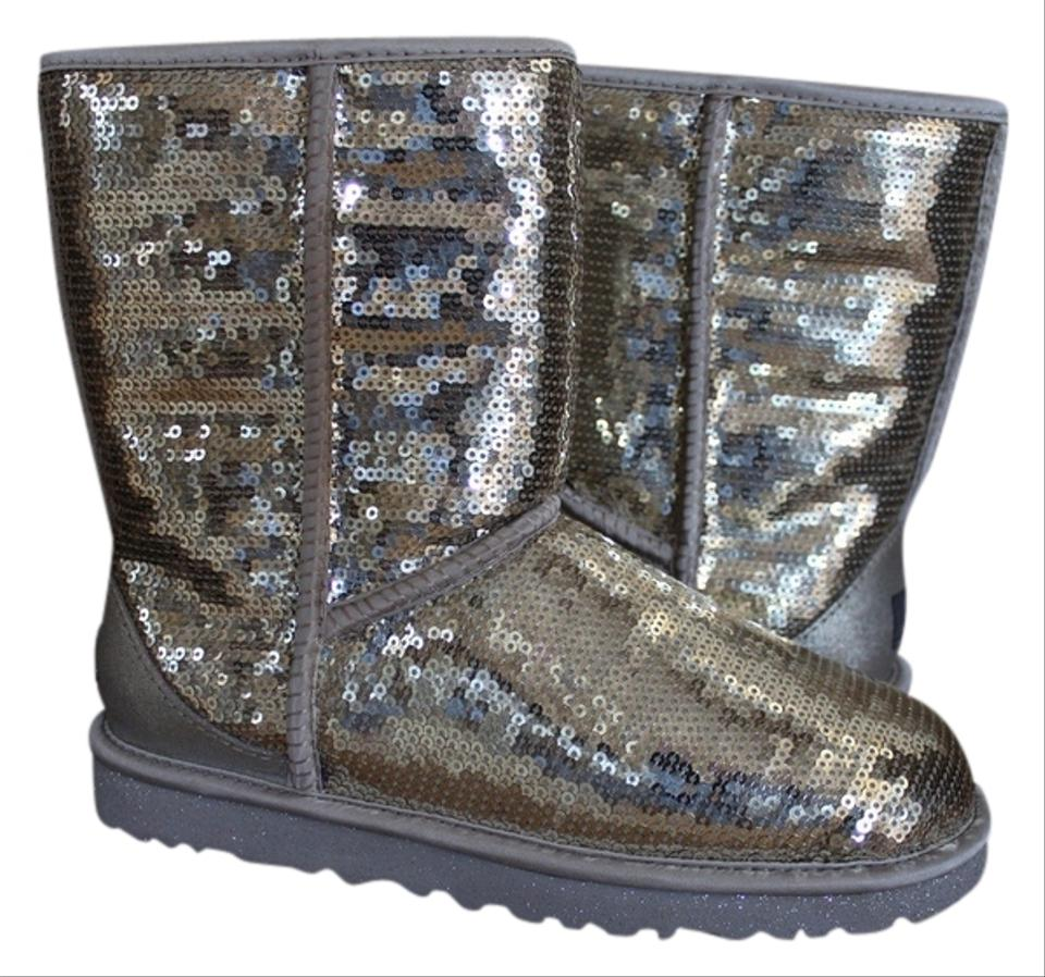 4ed7a564067 UGG Australia Silver Sequin Classic Short Boots/Booties Size US 8 ...