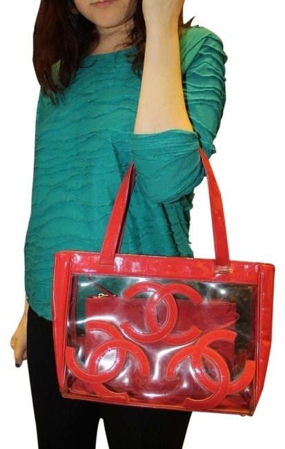 Item - Bag Clear Cc Jumbo Logo Red Patent Leather Tote