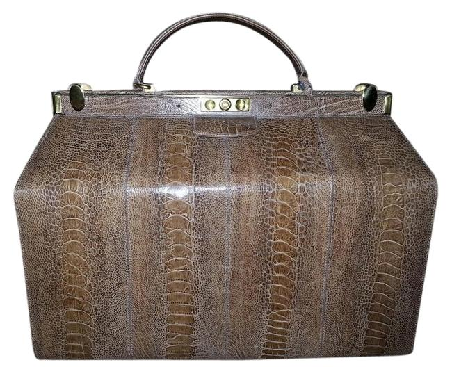 Large Doctor Taupe Ostrich Weekend/Travel Bag Large Doctor Taupe Ostrich Weekend/Travel Bag Image 1