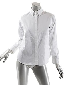 Carolina Herrera Cotton Pique Cuffs Button Down Shirt White