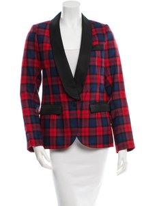 Smythe Les Vestes Smoking Jacket Red, Black, Blue Plaid Blazer