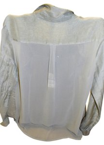 Nally & Millie Sheer Back Button Down Shirt Olive