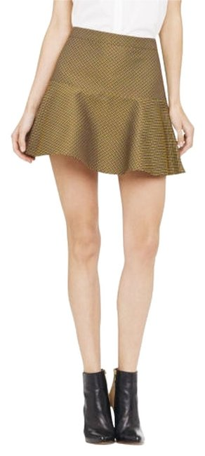 Club Monaco Jaquard Fit And Flare Mini Skirt Yellow Jacquard