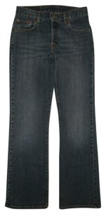 Lucky Brand 5 Pocket Style Button Fly Mid Rise Cotton/spandex Boot Cut Jeans-Dark Rinse