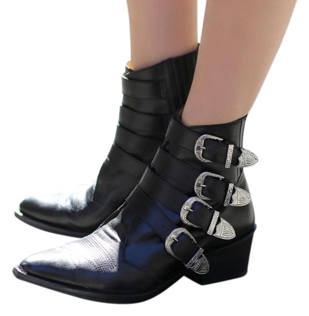 Item - Black Buckled Leather Ankle Boots/Booties Size US 6 Regular (M, B)