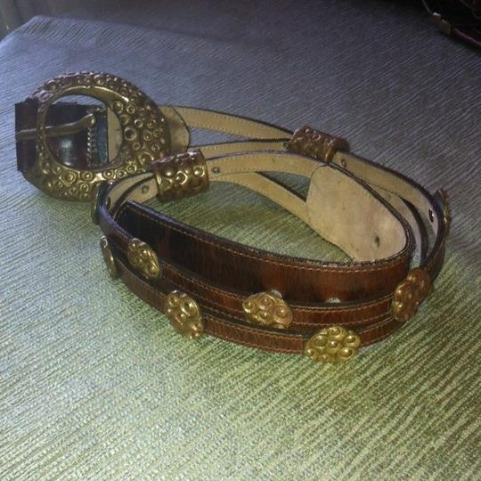 Anthropologie ANTHROPOLOGIE Tooled Brass & Leather Belt