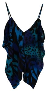 Charlotte Russe Night Out Fun V-neck Animal Print Top Blue, Black, Green, Purple