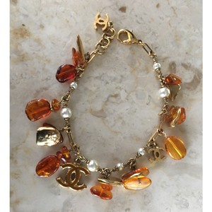 Chanel Chanel Classic CC Gold, Pearl and Amber Charm Bracelet