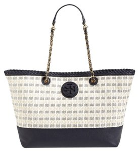 Tory Burch Marion Woven Straw Tote in Multi