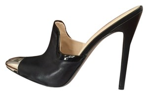 Nine West Metallic Patent Trim Leather Black/Silver Mules