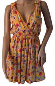 American Rag short dress Yellow multi on Tradesy