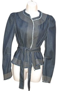 BCBGMAXAZRIA Denim Raw Edge Tie Dark Denim Womens Jean Jacket