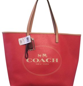 Coach Tote in Orangey Red