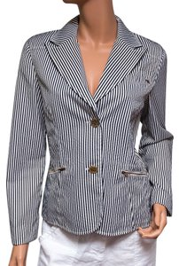 St. John B&w Striped Cotton 2 Button multi-color Blazer