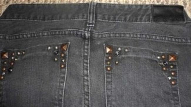 "GUESS Denim Stretch Size 30 Embellished With Studs On Front And Pockets Exact Measurements Are 31"" Waist (15.5 Laying 31"" Skinny Jeans-Dark Rinse"