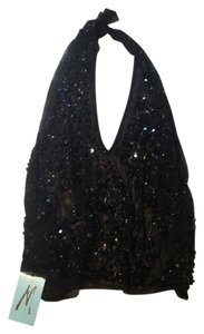 Marciano Glitter Embellished Sparkle Top Black