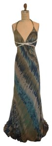 A.B.S. by Allen Schwartz Sparkle Chiffon Rhinestones Low Back Plunging Neckline Dress