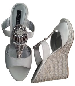 White House | Black Market White and Silver Wedges