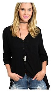 Other Asymmetrical Sleeveless Summer Shark Bite Untucked Button Down Shirt Black