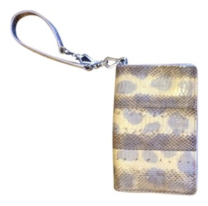 Jeanne Lottie Snakeskin Wristlet in Pale Yellow & Gray