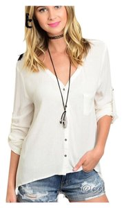 Other Asymmetrical Summer Shark Bite Untucked Women Button Down Shirt Ivory