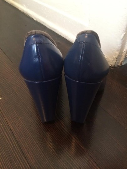 Marc Jacobs Mj Velvet Highheel Grey Madeinitaly Leather Electric Blue Pumps