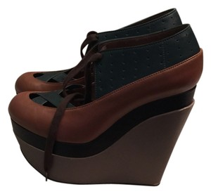 Marni Green, brown, black, gray Wedges