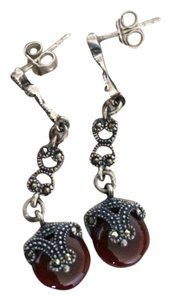 Maroon And Silver Filigree Earrings