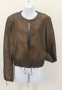 Worth Worth Bronze Metallic Leather Drawstrings Open Front Jacket Lb