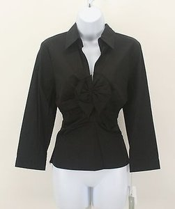 Worth Ls 11c13 Ruched Twist Front Collared B310 Top Black