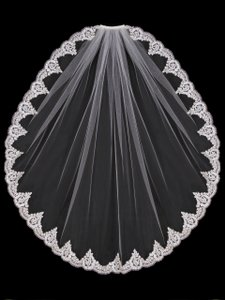 EnVogue Bridal White Lace Fingertip Wedding Veil By Envogue