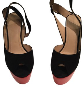 Céline Black suede with red leather wedge Wedges