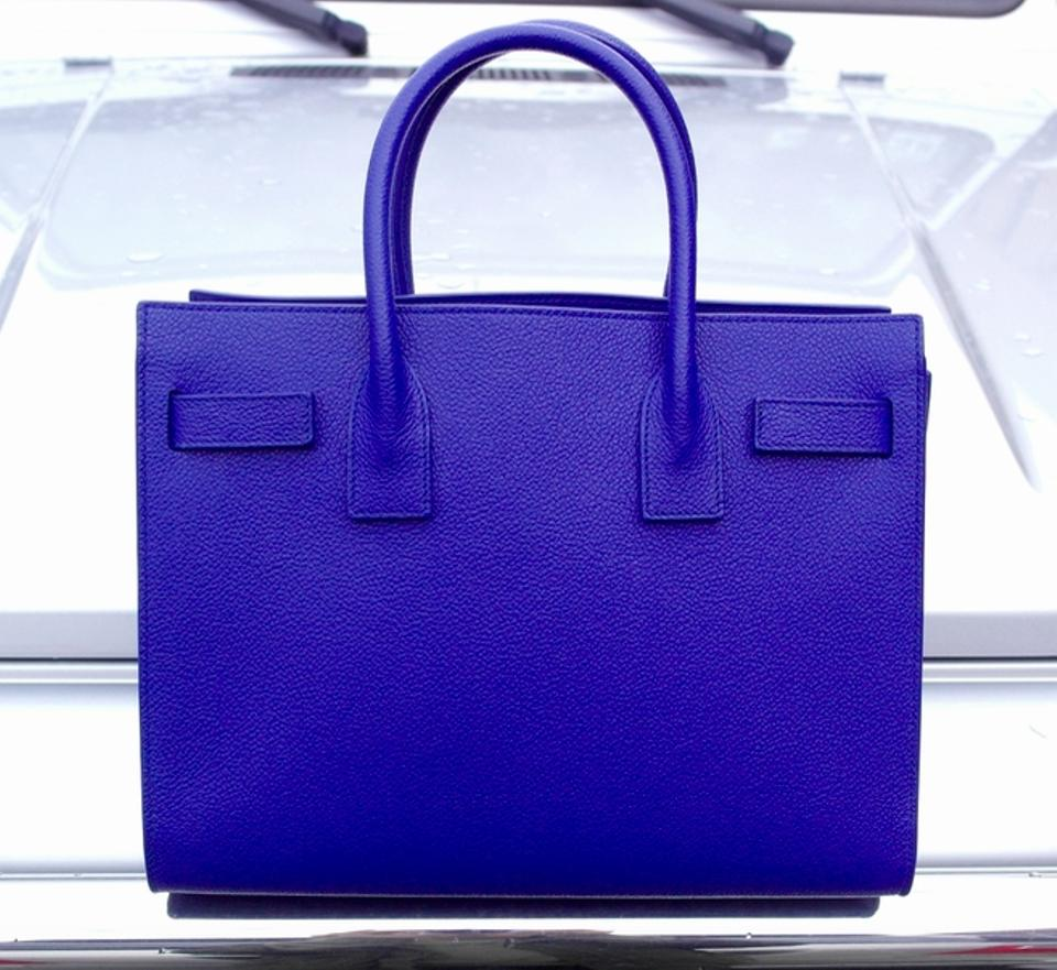 fdad19495a4e Saint Laurent Sac de Jour New Ysl Baby Grained Royal Blue Leather Tote