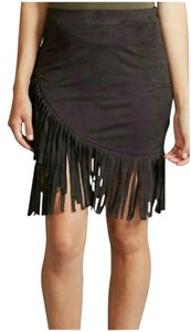 Adam Levine Collection Suede Boho Fringe Festival Mini Mini Skirt Black
