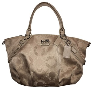Coach Satchel in Silver/Cream/Khaki