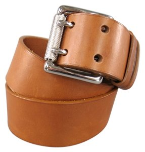 Ralph Lauren RALPH LAUREN Tan Brown Leather Silver Double Prong Buckle Belt