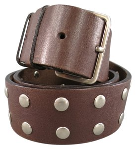 Miu Miu MIU MIU Brown Leather Silver Circle Studded Belt