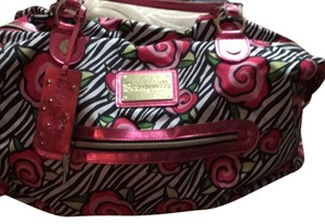 Betsey Johnson Black, White, Shades Of Pink, With Some Metallic Trim Travel Bag