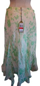 Max Studio Flowy Summer Skirt Multi - green and ivory
