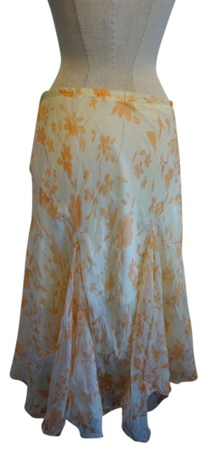 Max Studio Flowy Summer Spring Skirt Multi- Orange and Ivory
