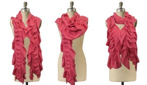 Juicy Couture Juicy Couture Scarf Pink Ruched Pleated Infinity Wool