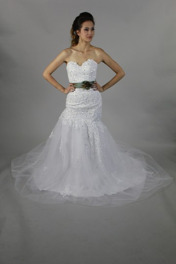 White Lace Organza Tulle Handmade Sweetheart with Beaded Mermaid Modern Wedding Dress Size 4 (S)