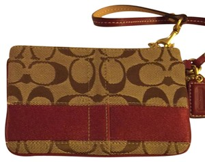 Coach Wristlet in Signature And Red