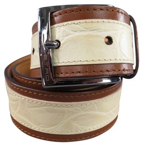 Etro ETRO Cream Alligator Embossed Brown Stripe Leather Belt